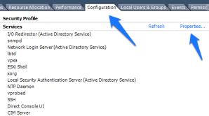 vSphere Client Security Profile Page